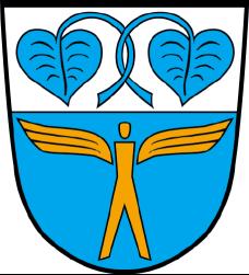Neubibergs Gemeindewappen, im oberen Teil sind zwei blaue Seerosen abgebildet, im unteren Teil ein geflügelter Mensch in gold auf blauem Grund